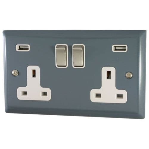 G&H SDG2910 Spectrum Plate Dark Grey 2 Gang Double 13A Switched Plug Socket 2.1A USB